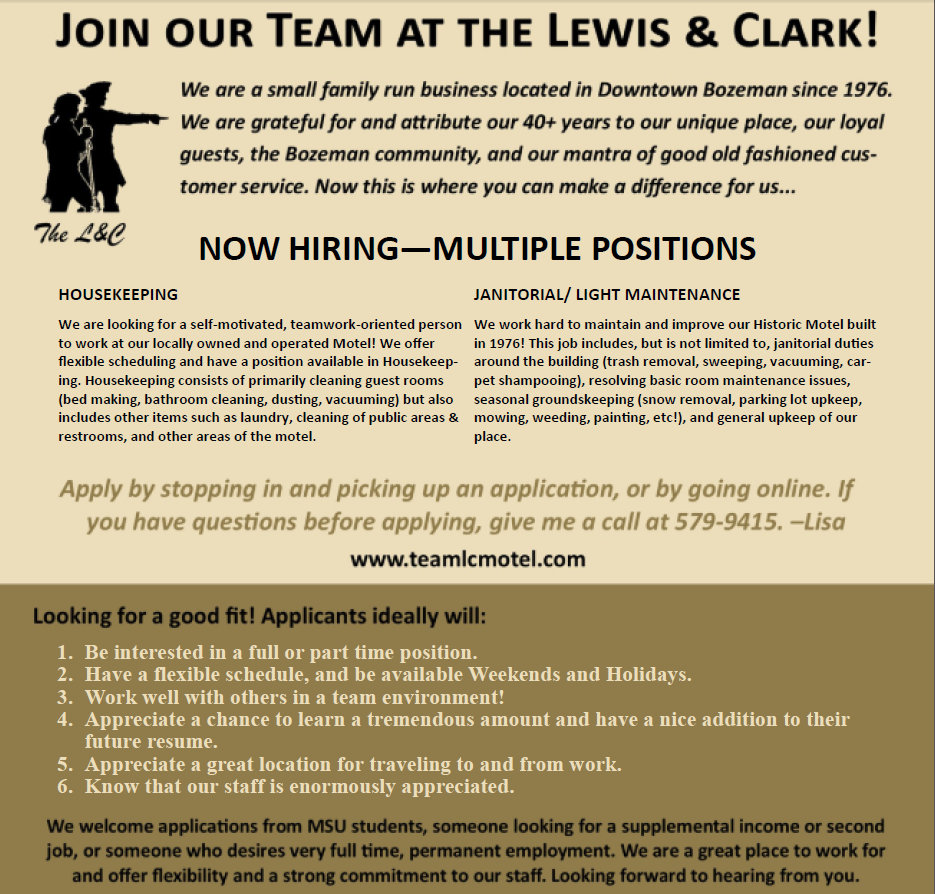 Lewis & Clark Motel Bozeman MT Montana Lodging Tourism Job Great Place to Work